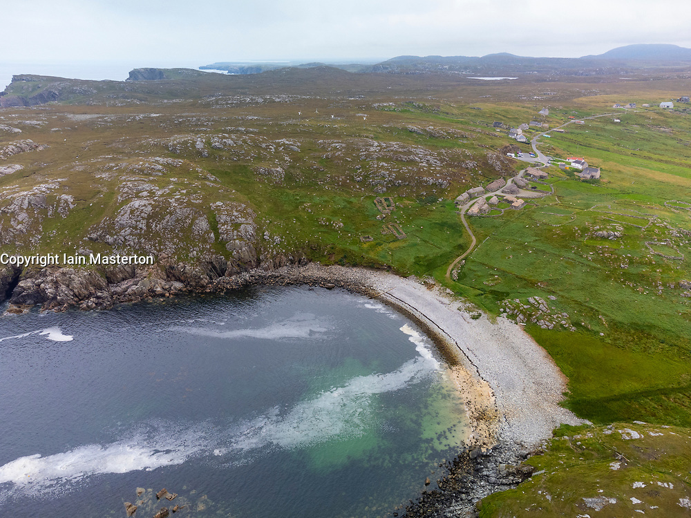 Aerial view from drone of Gearrannan Blackhouse village and coast at Garenin on Isle of Lewis , Outer Hebrides, Scotland UK