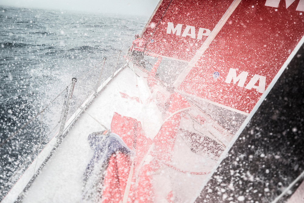 Leg 02, Lisbon to Cape Town, day 16, on board MAPFRE, Sophie Ciszek  at the bow during a pilling . Photo by Ugo Fonolla/Volvo Ocean Race. 20 November, 2017