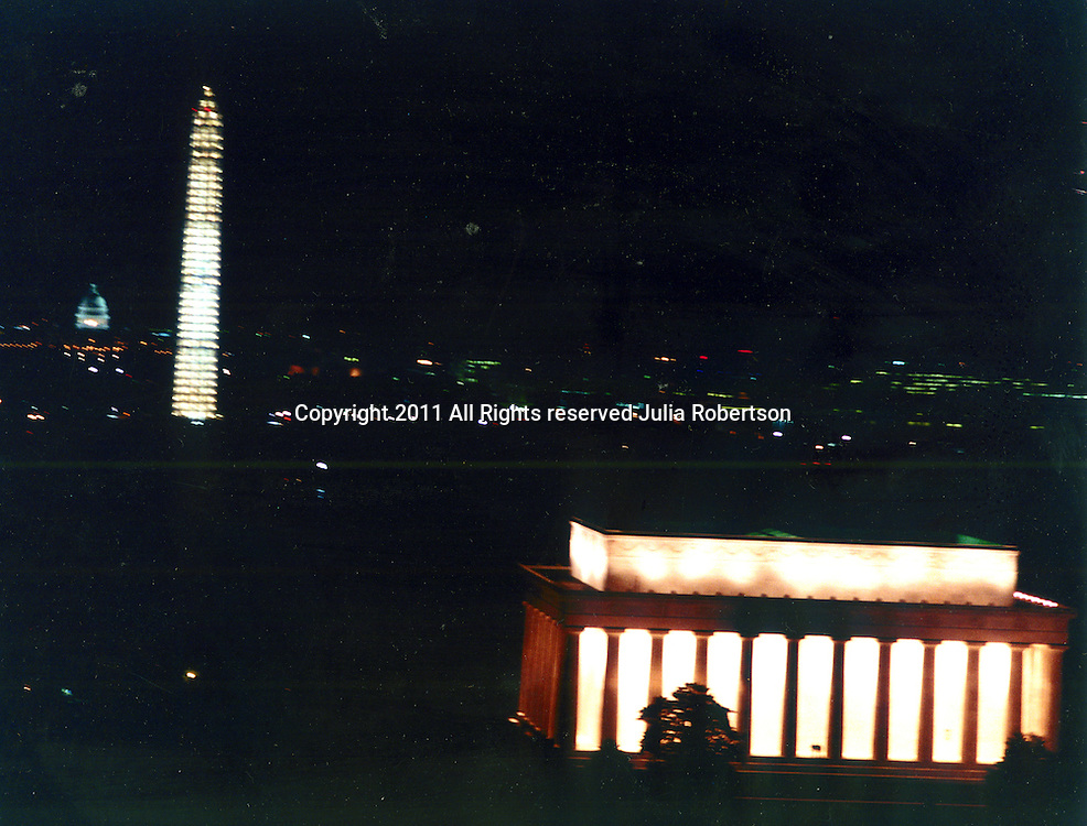 Aerial view of the Washington DC Skyline at night