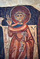 Romanesque frescoes of St. Peter from the church of Sant Roma de les Bons, painted around 1164, Encamp, Andorra. National Art Museum of Catalonia, Barcelona. MNAC 15783 .<br /> <br /> If you prefer you can also buy from our ALAMY PHOTO LIBRARY  Collection visit : https://www.alamy.com/portfolio/paul-williams-funkystock/romanesque-art-antiquities.html<br /> Type -     MNAC     - into the LOWER SEARCH WITHIN GALLERY box. Refine search by adding background colour, place, subject etc<br /> <br /> Visit our ROMANESQUE ART PHOTO COLLECTION for more   photos  to download or buy as prints https://funkystock.photoshelter.com/gallery-collection/Medieval-Romanesque-Art-Antiquities-Historic-Sites-Pictures-Images-of/C0000uYGQT94tY_Y