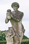 Statue Bacchus. On the terrasse. Chateau Pichon Longueville Comtesse de Lalande, pauillac, Medoc, Bordeaux, France