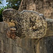North America, Latin America, Latin, Caribbean, tropical, Mexico, Yucatan, Chichen Itza, Xchen Itza, Maya, Mayan, UNESCO World Heritage Site, <br /> Mayan feathered serpent at ancient Chichen Itza, Mexico.