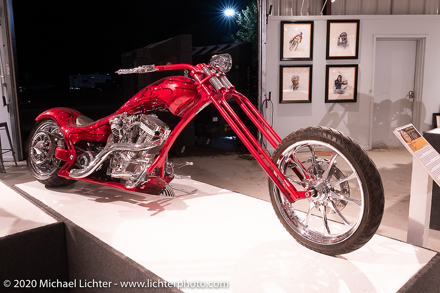 Eddie Trotta V-Twin TV Bike (built: 2006) with its TP 120 ci engine was one of a number of bikes Eddie built for television in the crazy years of the 2000's. On display here in the Heavy Mettle - Motorcycles and Art with Moxie exhibition at the Sturgis Buffalo Chip. This is the 2020 iteration of the annual Motorcycles as Art series curated and produced by Michael Lichter. Sturgis, SD, USA. Friday, August 7, 2020. Photography ©2020 Michael Lichter.