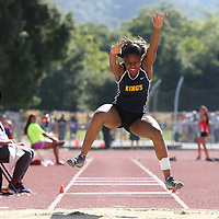(Photograph by Bill Gerth for SVCN/5/27/16) Kings Academy Taylor Johnson during (4th place, 18-05.25)  the CCS Track and Field Championships at Gilroy High School, Gilroy CA on 5/27/16.