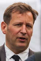 """London, UK. 25 September, 2019. Ed Vaizey, Independent MP for Didcot and Wantage, is interviewed on College Green on the day after the Supreme Court ruled that the Prime Minister's decision to suspend parliament was """"unlawful, void and of no effect"""". Credit: Mark Kerrison/Alamy Live News"""