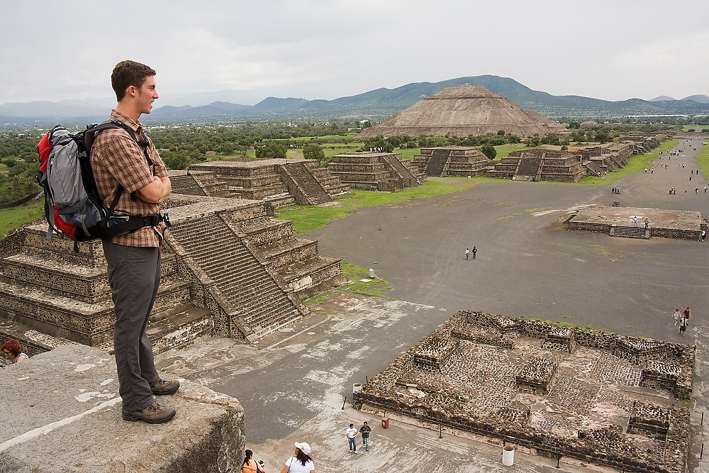 Zach Podell-Eberhardt enjoys the vew from the Pyramid of the Moon, or Piramide de la Luna, in the pre-columbian archeological site of Teotihuacan, Mexico state, Mexico.