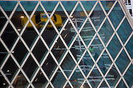 Photo Randy Vanderveen.Seattle, WA.An abstract scene is formed from reflection of vehicles on Spring Street in the windows of the Seattle Public Library''s Central Library, 1000 Fourth Ave, Seattle, WA 98104