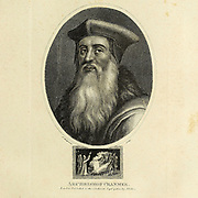 Thomas Cranmer (2 July 1489 – 21 March 1556) was a leader of the English Reformation and Archbishop of Canterbury during the reigns of Henry VIII, Edward VI and, for a short time, Mary I. He helped build the case for the annulment of Henry's marriage to Catherine of Aragon, which was one of the causes of the separation of the English Church from union with the Holy See. Along with Thomas Cromwell, he supported the principle of royal supremacy, in which the king was considered sovereign over the Church within his realm. During Cranmer's tenure as Archbishop of Canterbury, he was responsible for establishing the first doctrinal and liturgical structures of the reformed Church of England. Under Henry's rule, Cranmer did not make many radical changes in the Church, due to power struggles between religious conservatives and reformers. He published the first officially authorised vernacular service, the Exhortation and Litany. Copperplate engraving From the Encyclopaedia Londinensis or, Universal dictionary of arts, sciences, and literature; Volume V;  Edited by Wilkes, John. Published in London in 1810