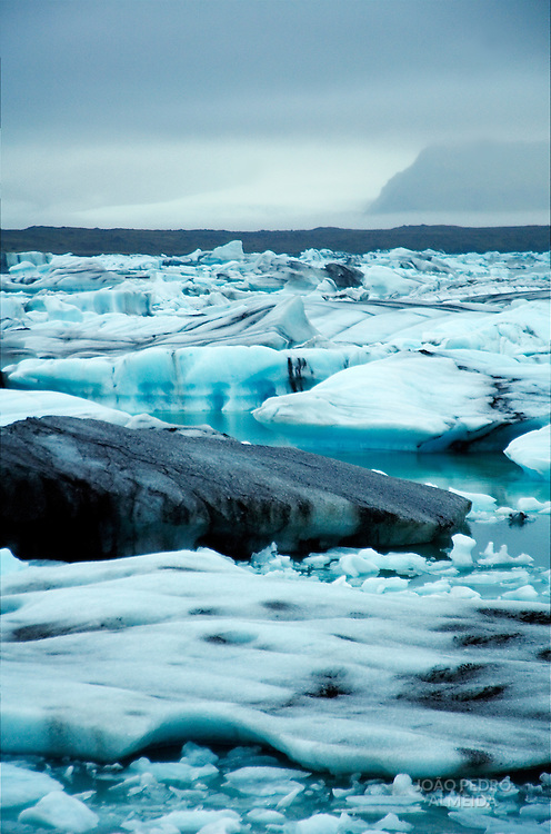 Ice blocks floating at icy lagoon of Jokulsarlon