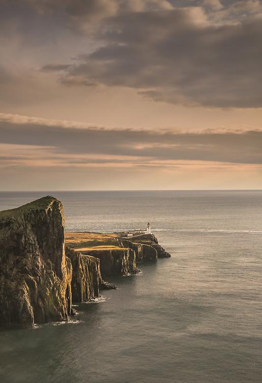 The Neist Point Lighthouse at dusk.  Isle of Skye, Scotland.