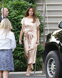 First Lady Melania Trump exits the residence to attend a reception at the Ford's Theatre , on June 4, 2017 in Washington, DC. Photo by Olivier Douliery/Sipa USA