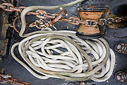 Anchor chain and rope on a boat, South Lake Union, Seattle, Washington, USA.