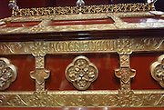 Chasse (reliquary box) of St Agnes of Jesus, 19th century, donated by the Baroness of Ussel to the Monastere Sainte Catherine de Sienne, or Monastery of St Catherine of Siena, Langeac, Haute Loire, France. St Agnes of Jesus, or St Agnes of Langeac, 1602-34, founded the monastery in 1623, and was prioress from 1627. Picture by Manuel Cohen
