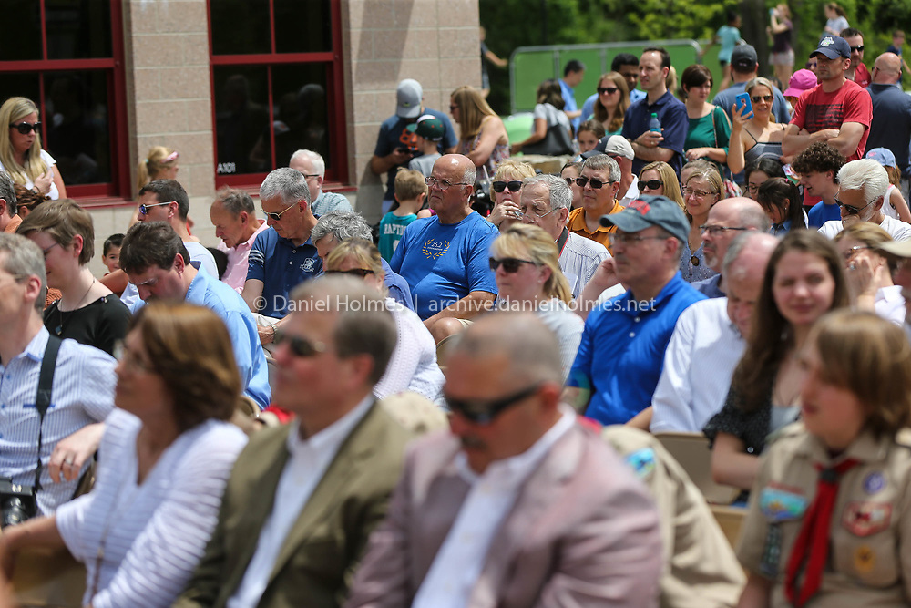 (6/9/18, HOPKINTON, MA) A large turnout during the ribbon cutting ceremony at Marathon Elementary School in Hopkinton on Saturday. [Daily News and Wicked Local Photo/Dan Holmes]