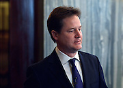 © Licensed to London News Pictures. 27/03/2013. London, UK The Deputy Prime Minister Nick Clegg gives the inaugural speech at the Robert Oakeshott Memorial Lecture at The Law Society today, 27th March 2013, to celebrate the life and work of Robert Oakeshott, and outline the progress the government has made on employee ownership since the Nuttall Review was published in July 2012. He also took part in a Question and Answer session. Photo credit : Stephen Simpson/LNP