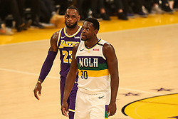 February 27, 2019 - Los Angeles, CA, U.S. - LOS ANGELES, CA - FEBRUARY 27: Los Angeles Lakers Forward LeBron James (23) and New Orleans Pelicans Center Julius Randle (30) checking each other during the first half of the New Orleans Pelicans versus Los Angeles Lakers game on February 27, 2019, at Staples Center in Los Angeles, CA. (Photo by Icon Sportswire) (Credit Image: © Icon Sportswire/Icon SMI via ZUMA Press)