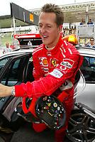 23.10.2004 Interlagos, Brazil,<br /> F1, Saturday, October, Michael Schumacher, GER, Ferrari returns to the pits after crashing.<br /> Formula 1 World Championship, Rd 18, Brazilian Grand Prix, BRA, Brazil, Practice <br /> Photo: Digitalsport<br /> Norway only
