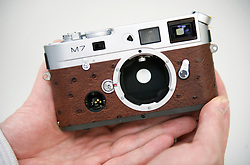 """SOLMS, GERMANY - MAY-18-2009 -  A custom made Leica M7 with Ostrich leather. Leica's """"a la carte"""" program allows customers to order custom made cameras. (Photo © Jock Fistick)"""