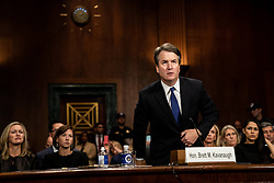 September 27, 2018 - Washington, District of Columbia, U.S. - Judge BRETT M. KAVANAUGH testified in front of the Senate Judiciary committee regarding sexual assault allegations at the Dirksen Senate Office Building on Capitol Hill Thursday.  (Credit Image: © Erin Schaff/CNP via ZUMA Wire)