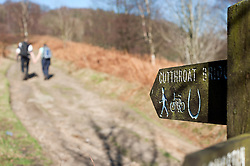Signpost for Cut Throat Bridge.The Peak District in early Spring on the path from Derwent Edge to Cut Throat Bridge behind the Ladybower Pub..http://www.pauldaviddrabble.co.uk.11 March 2012 .Image © Paul David Drabble