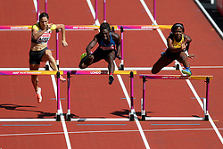 USA's Dawn Harper Nelson (centre) in action during the Women's 100m hurdles heats during day eight of the 2017 IAAF World Championships at the London Stadium. PRESS ASSOCIATION Photo. Picture date: Friday August 11, 2017. See PA story ATHLETICS World. Photo credit should read: Jonathan Brady/PA Wire. RESTRICTIONS: Editorial use only. No transmission of sound or moving images and no video simulation.