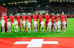 Team Switzerland listening to the National anthem during football match between National teams of Slovenia and Switzerland at Round 2 of Euro 2016 Qualifications, on October 9, 2014 in Stadium Ljudski vrt, Maribor, Slovenia. Photo by Vid Ponikvar / Sportida.com