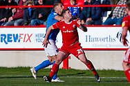 Portsmouth defender Lee Brown (3) challenges with Accrington Stanley forward Billy Kee (29)  during the EFL Sky Bet League 1 match between Accrington Stanley and Portsmouth at the Fraser Eagle Stadium, Accrington, England on 27 October 2018.
