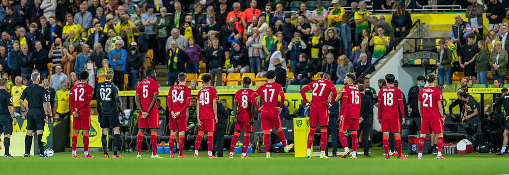 NORWICH, ENGLAND - Tuesday, September 21, 2021: Liverpool players with various squad numbers before the Football League Cup 3rd Round match between Norwich City FC and Liverpool FC at Carrow Road. Liverpool won 3-0. (Pic by David Rawcliffe/Propaganda)
