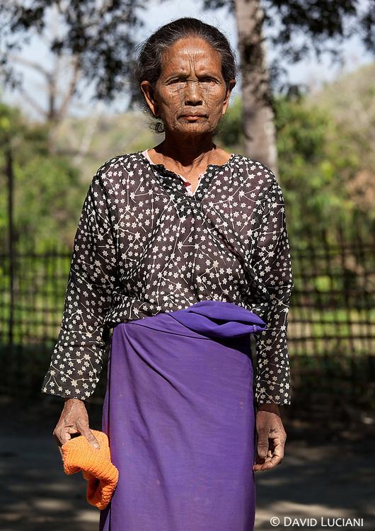 Miss Mar Mark Oo posing in a Chin village near Lemro River.