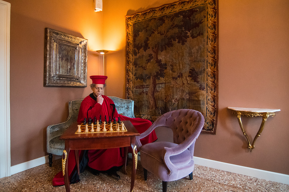 Venice, February 2019<br /> Actor Luca Costantini, dressed with a red velvet dress for men, of the second half of the 1400s, taken from a Bellini subject. For the shooting he wears a well hat typical of military leaders of the second half of the 1400s, and it represents the duke of Urbino, Federico da Montefeltro.<br /> The theme for the 2019 edition of Venice Carnival is 'Venice, the oldest city of the future!' and will run from 16th of February to 5th of March 2019.