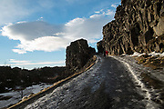 Thingvellir National Park. Fissures in the rock as a result of the rifts caused by the teutonic plates of the Mid-Atlantic Ridge. Iceland.