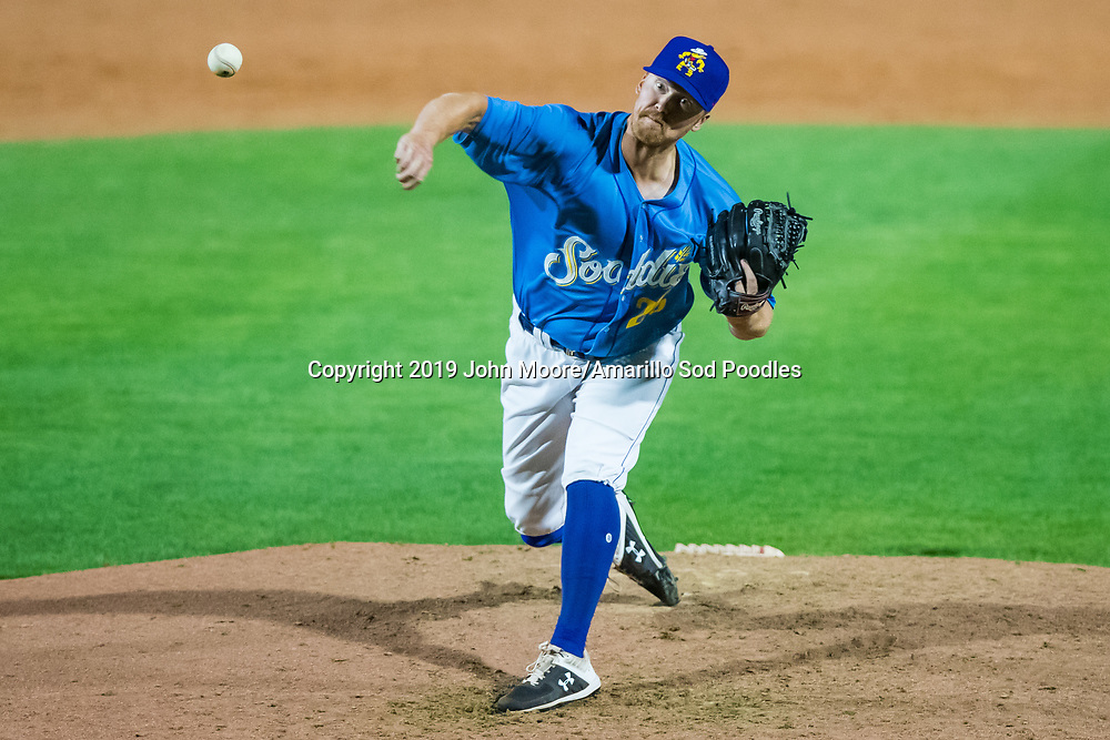Amarillo Sod Poodles pitcher Blake Rogers (25) pitches against the Tulsa Drillers during the Texas League Championship on Wednesday, Sept. 11, 2019, at HODGETOWN in Amarillo, Texas. [Photo by John Moore/Amarillo Sod Poodles]