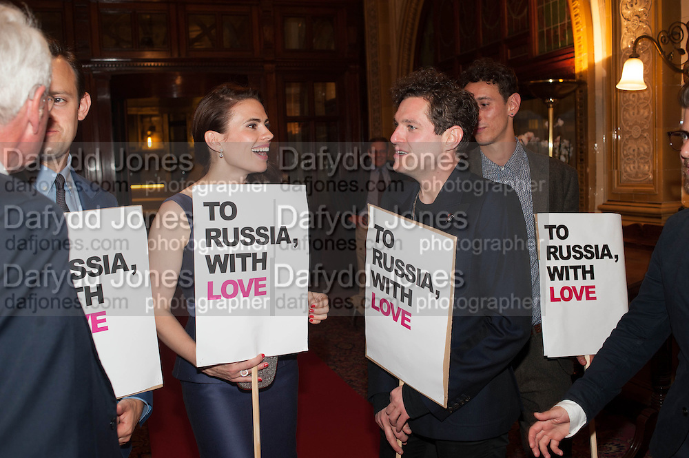 Hayley Atwell, Mathew Horne, Press night performance of the Pride at Trafalgar Studios and afterwards at the Gladstone Library, National Liberal Club. Whitehall place. London. 13 August 2013.