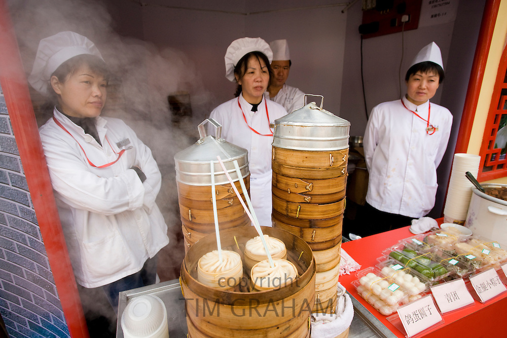 Soup dumplings stall in the Yu Garden Bazaar Market, Shanghai, China