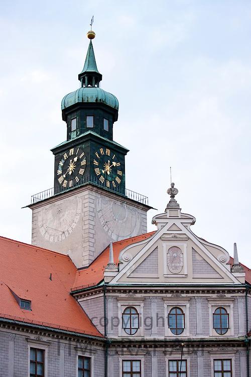 Brunnenhof Residence, Brunnenhof Residenz, with clocktower in old Munich, Bavaria, Germany