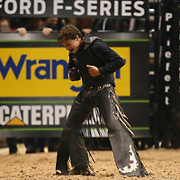 LAS VEGAS, NV - JUNE 11: Austin Richardson celebrates following his ride of bull Zorro during the PBR Las Vegas Invitational, on June 11, 2021, at the MGM Grand Garden Arena, in Las Vegas, Nevada. (Photo by Chris Elise)