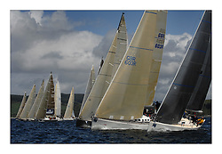 Sailing - The 2007 Bell Lawrie Scottish Series hosted by the Clyde Cruising Club, Tarbert, Loch Fyne..Brilliant first days conditions for racing across the three fleets..Playing FTSE GBR603 on the Class One start.