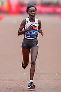 Mary Keitany (Kenya), approaching the finish line in the Women's Elite race, during the Virgin Money 2019 London Marathon, London, United Kingdom on 28 April 2019.