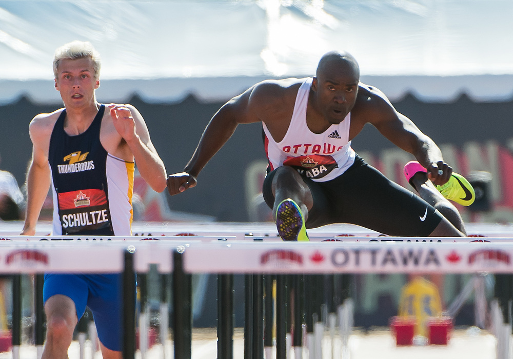 OTTAWA - JULY 08: Sekou Kaba competes in the Men's 110m hurdles semi-final during the 2017 Canadian Track and Field Championships at the Terry Fox Athletic Facility in Ottawa, ON., Canada on July 7, 2017.<br /> <br /> Photo: Steve Kingsman for Sports Ottawa/Ottawa Sportspage