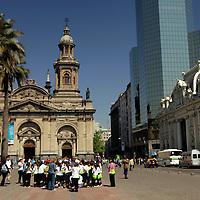 South America, Chile, Santiago. The Metropolitan Cathedral of Santiago.