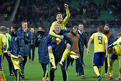 November 13, 2017 - Milan, Italy - Victor Nilsson Lindelöf, John Guidetti, Sweden team celebrates at the end of the FIFA World Cup 2018 qualification football match between Italy and Sweden, on November 13, 2017 at the San Siro stadium in Milan.Italy failed to reach the World Cup for the first time since 1958 on Monday as they were held to a 0-0 draw in the second leg of their play-off at the San Siro by Sweden, who qualified with a 1-0 aggregate victory (Credit Image: © Aftonbladet/IBL via ZUMA Wire)