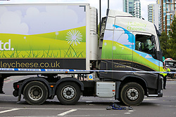 © Licensed to London News Pictures. 26/08/2020. London, UK. An elderly man died this afternoon following an accident with a heavy goods vehicle, outside Manor House underground station in north London. The man was seen crossing the road when he was hit by the lorry and died at the scene. Green Lanes and Seven Sisters Road are closed due to the accident. Photo credit: Dinendra Haria/LNP