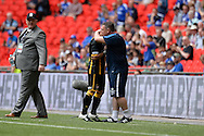 Morpeth Manager Nick Gray embraces Morpeth Town Sean Taylor during the FA Vase match between Hereford FC  and Morpeth Town at Wembley Stadium, London, England on 22 May 2016. Photo by Dennis Goodwin.