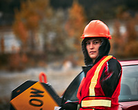 Construction Traffic Signal Woman. Image taken with a Nikon D700 camera and 70-300 mm VR lens.