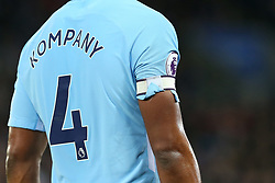 18 November 2017 - Premier League Football - Leicester City v Manchester City - The torn shirt sleeve of Vincent Kompany of Man City sticks to the velcro of his armband - Photo: Charlotte Wilson / Offside