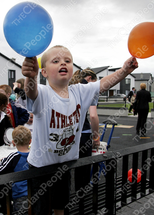 Daniel Aylmer enjoys all the fun and games at the official opening of the Cul na Greine Housing Scheme in Shannon last Thursday.<br /> <br /> Photograph by Yvonne Vaughan.
