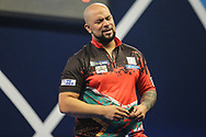 Devon Peterson reacts to losing the first set during the World Darts Championships 2018 at Alexandra Palace, London, United Kingdom on 27 December 2018.