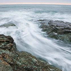 Morning surf near Brenton Point State Park on Ocean Road in Newport, Rhode Island.