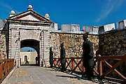 THE MAIN ENTRANCE TO THE FORT OF SAN DIEGO IN THE CITY OF ACAPULCO IN MEXICO, THE FORT WAS BUILT BETWEN 1614 AND 1616 TO PROTECT THE CITY AGAINST THE ATACKS OF PIRATES. IT WAS THE BIGGEST FORT IN THE PACIFIC COAST.  NOW IS A LOCAL MUSEUM ABOUT THE HISTORY OF ACAPULCO.