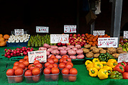 Colourful rows of fresh fruit and vegetables are laid out with price guides at an outdoor market stall on 4th September, 2021 in Leeds, United Kingdom. A combination of Brexit and Covid-19 is reportedly exacerbating an already severe staff shortage in the British food industry, with a lack of fruit and vegetable pickers that could see a hike in food prices across the country.